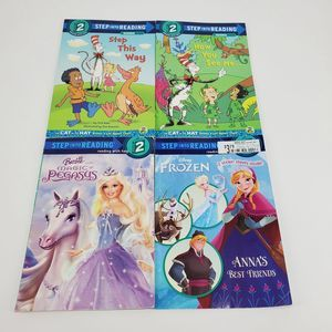 Step Into Reading Frozen Barbie Lot Of 4 Books